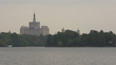 The House of Free Press seen from Herastrau Park in Bucharest Stock Footage