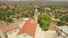 Revealing aerial shot of a church in Cyprus Stock Footage