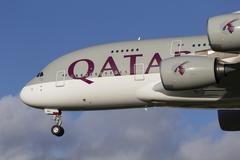 Qatar Airlines Airbus A380 - stock photo