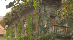The balcony of a building covered with green plants, Bucharest Stock Footage