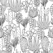 Succulents plant vector seamless pattern. Botanical black and white cactus flora - stock illustration