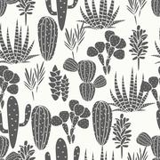 Succulents plant vector seamless pattern. Botanical black and white cactus flora Stock Illustration
