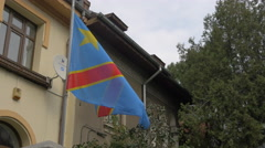 The Democratic Republic of Congo flag in Bucharest Stock Footage