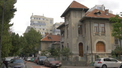 View of an old building with red roof in Bucharest Stock Footage