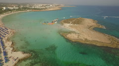 Stunning aerial drone shot Ayia Napa in Cyprus on a sunny day Stock Footage
