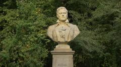 Mikhail Ivanovich Glinka bust statue in Bucharest Stock Footage