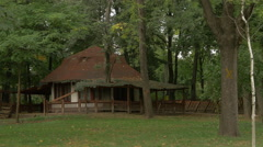 Stock Video Footage of View of an old Romanian traditional house in the park in Bucharest