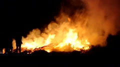 Easter fire in dark night Stock Footage