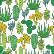 Succulents plant vector seamless pattern. Botanical green and white cactus flora Stock Illustration