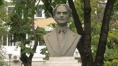 Bust statue in Bucharest Stock Footage