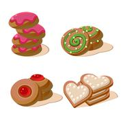 Tasty cookies vector illustration set - stock illustration