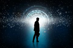 Stock Illustration of Business person looking at the shine round portal