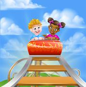 Stock Illustration of Roller Coaster Fair Theme Park
