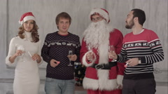 Stock Video Footage of Group of people toasting at a celebration of christmas and clinking their
