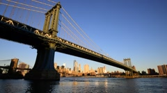 USA, New York, Manhattan, Manhattan, East River, Manhattan and Brooklyn Bridges - stock footage