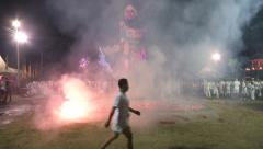 Firecrackers End Firewalking Ceremony Stock Footage