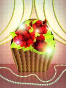 Basket of roses on holiday background - stock illustration