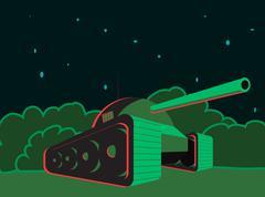 Tank night in the bush Stock Illustration