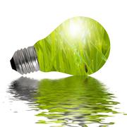 Eco Lamp reflected in water Stock Illustration