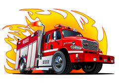 Vector Cartoon Fire Truck Stock Illustration