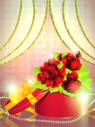 Stock Illustration of Holiday gift box with roses