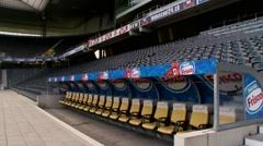 Stade de Suisse, Pan from bench Stock Footage
