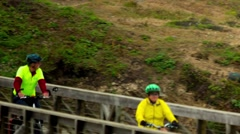 Pudding Creek Trestle Bike Riders 2 - stock footage