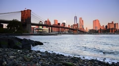 USA, New York, Manhattan, Manhattan, East River, Brooklyn Bridge and Manhattan - stock footage