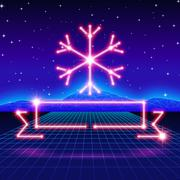 Christmas card with 80s neon snowflake and ribbon - stock illustration