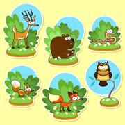 Stock Illustration of Funny wood animals. Vector and cartoon illustration