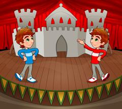 Twins are acting on the stage. - stock illustration