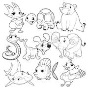 Stock Illustration of Set of animals in black and white.