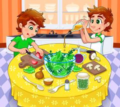 Twins are preparing a green salad. Stock Illustration