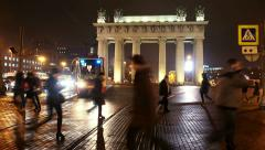 Moscow Triumphal gate at night. Street with trams Stock Footage