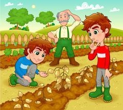 Stock Illustration of Funny scene in the vegetable garden.