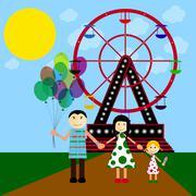 Stock Illustration of Happy family walking outdoors