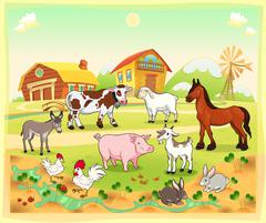 Farm animals with background. - stock illustration