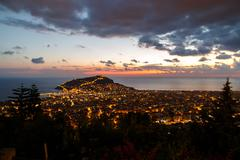 Night View of Alanya Castle - stock photo