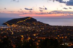 Night View of Alanya Castle Stock Photos