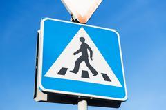 Stock Photo of close up of pedestrian crosswalk road sign