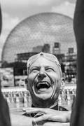 Happy Freediver out of the Water after his Performance Result. - stock photo