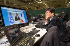 Stock Photo of Work of press during UN Conference on Climate Change