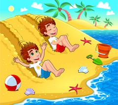 Twins are playing on the beach. Stock Illustration