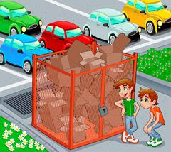 Stock Illustration of Twins are near a recycling cage.