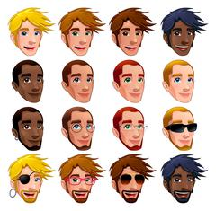 Male faces, vector isolated characters. - stock illustration