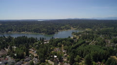 Aerial view of wooded area - Bainbridge Island Stock Footage