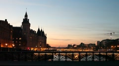 Evening commuters in Paris Stock Footage