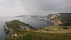 Worbarrow Bay east of Lulworth Cove near Tyneham Dorset coast England uk Stock Footage