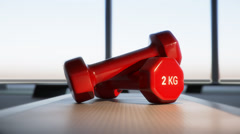 Red Fitness Dumbbells On Step Stock Footage