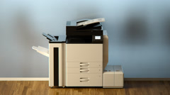 Broken Office Printer Scan Xerox Virus Stock Footage